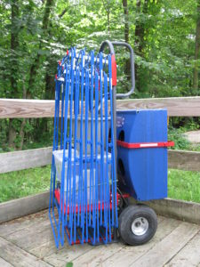 Recycling equipment available includes carts for moving frames.