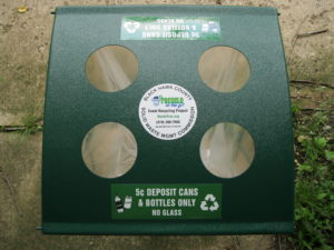 Recycling equipment available for collecting deposit containers.