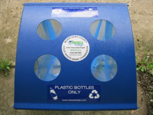 Recycling equipment available for collecting plastic bottles.